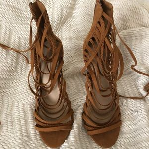 Never worn Forever 21 Faux Suede Lace Up Heels